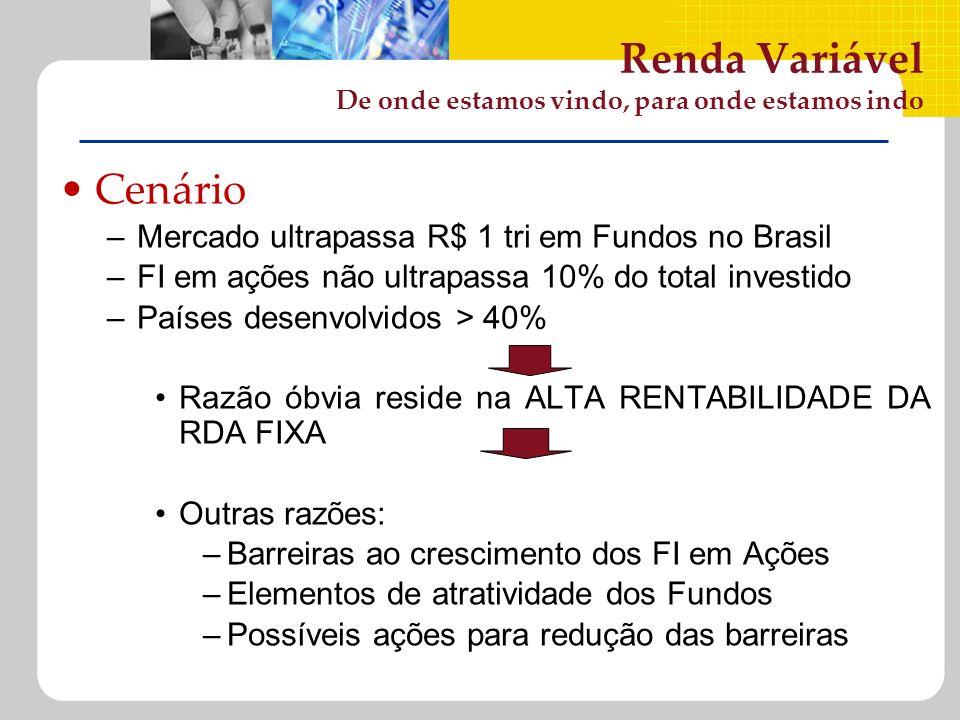 Renda Variável De onde estamos vindo, para onde estamos indo Cenário –Mercado ultrapassa R$ 1 tri em Fundos no Brasil –FI em ações não ultrapassa 10%