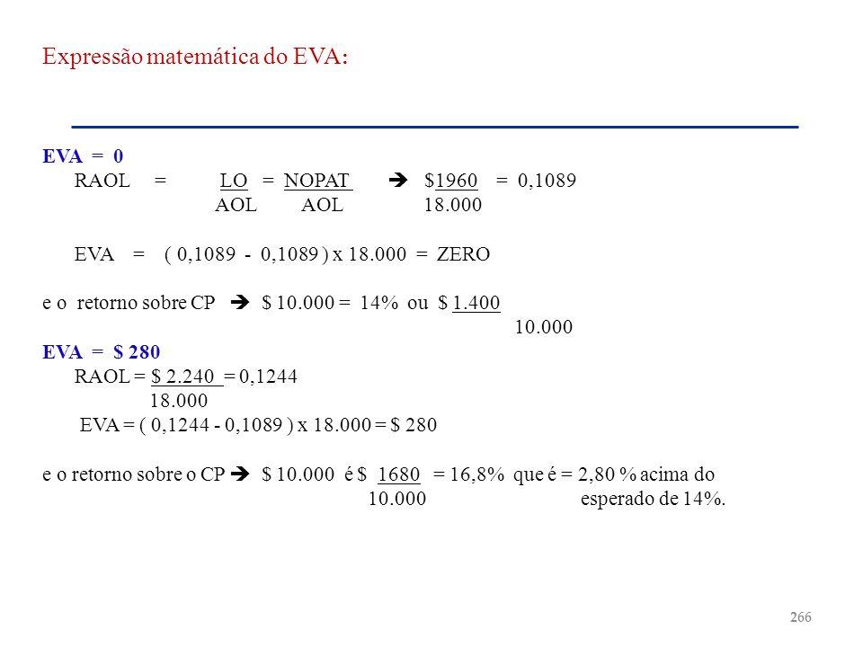 Expressão matemática do EVA : EVA = 0 RAOL = LO = NOPAT $1960 = 0,1089 AOLAOL 18.000 EVA = ( 0,1089 - 0,1089 ) x 18.000 = ZERO e o retorno sobre CP $