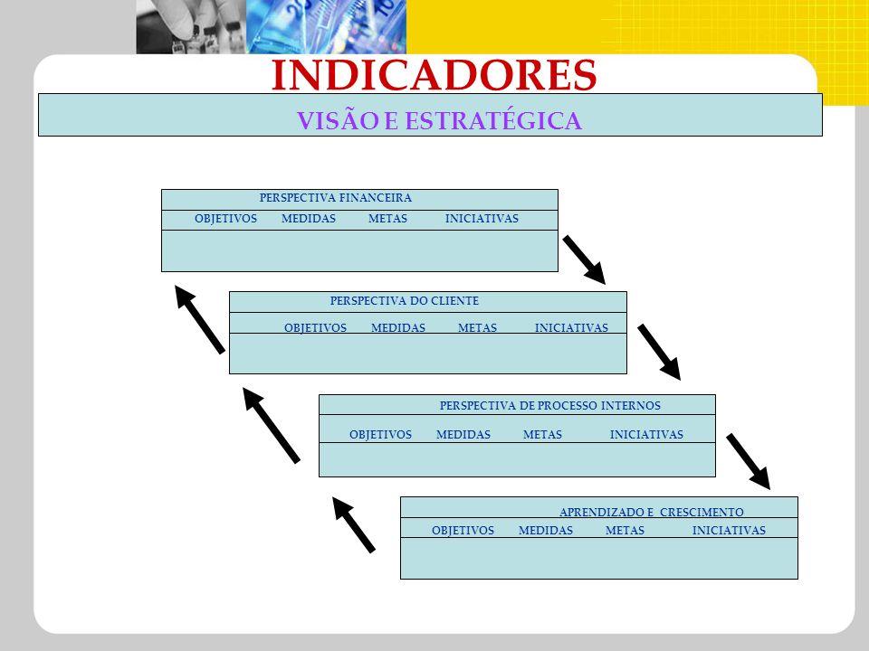 INDICADORES VISÃO E ESTRATÉGICA OBJETIVOSMEDIDASMETASINICIATIVAS PERSPECTIVA FINANCEIRA PERSPECTIVA DO CLIENTE PERSPECTIVA DE PROCESSO INTERNOS APREND