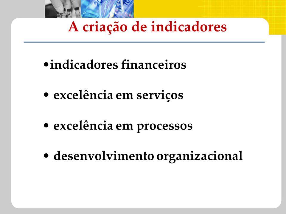 A criação de indicadores indicadores financeiros excelência em serviços excelência em processos desenvolvimento organizacional