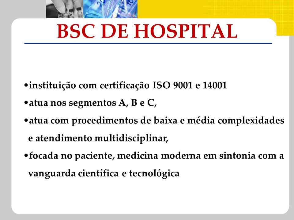 BSC DE HOSPITAL instituição com certificação ISO 9001 e 14001 atua nos segmentos A, B e C, atua com procedimentos de baixa e média complexidades e ate