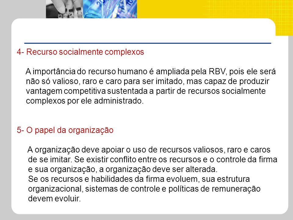 4- Recurso socialmente complexos A importância do recurso humano é ampliada pela RBV, pois ele será não só valioso, raro e caro para ser imitado, mas