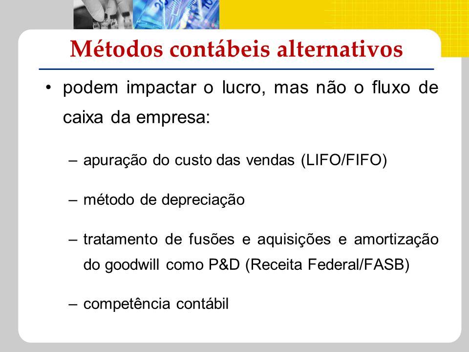 podem impactar o lucro, mas não o fluxo de caixa da empresa: –apuração do custo das vendas (LIFO/FIFO) –método de depreciação –tratamento de fusões e