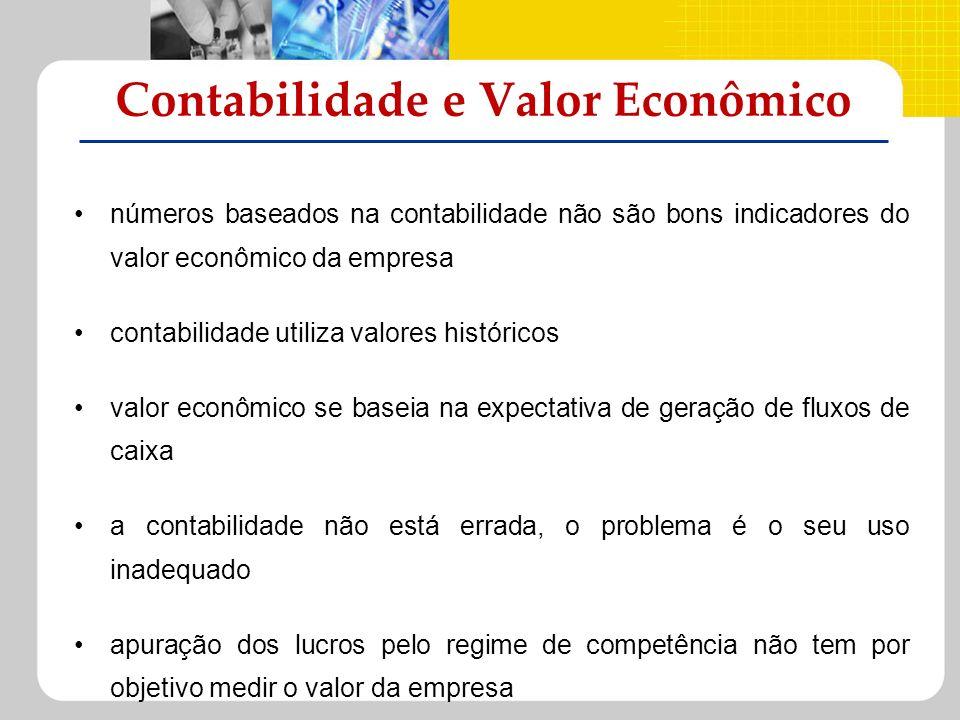 números baseados na contabilidade não são bons indicadores do valor econômico da empresa contabilidade utiliza valores históricos valor econômico se b