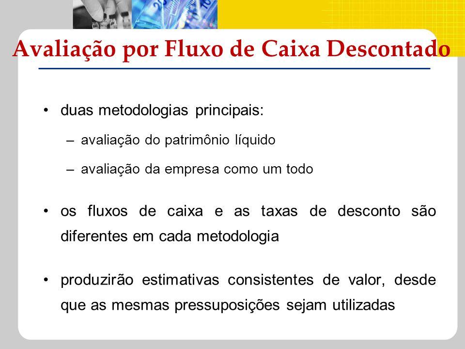 duas metodologias principais: –avaliação do patrimônio líquido –avaliação da empresa como um todo os fluxos de caixa e as taxas de desconto são difere