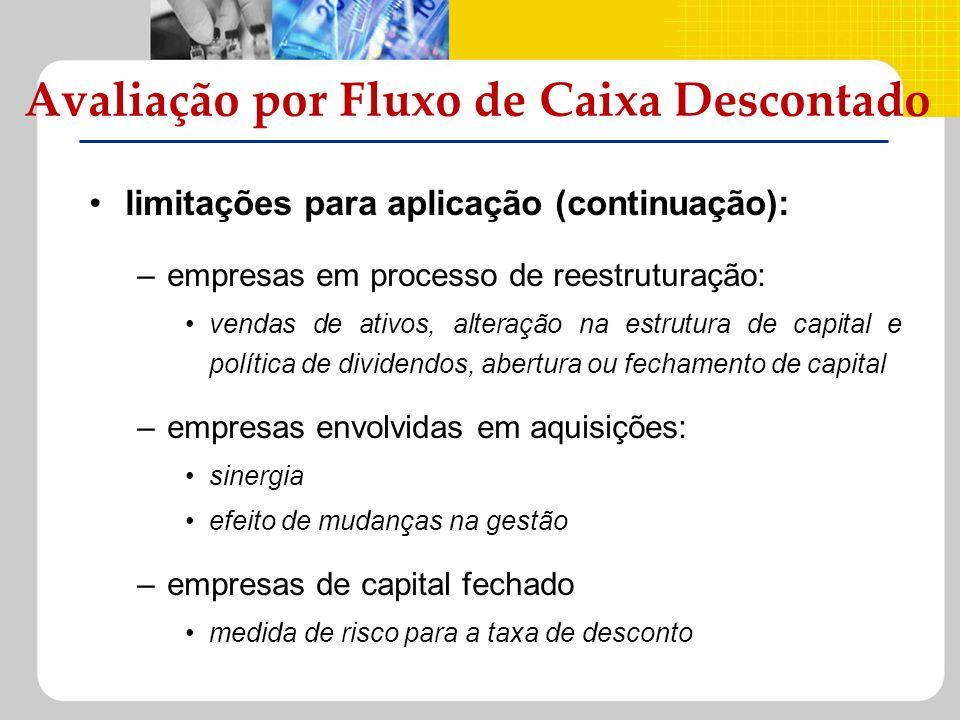 limitações para aplicação (continuação): –empresas em processo de reestruturação: vendas de ativos, alteração na estrutura de capital e política de di