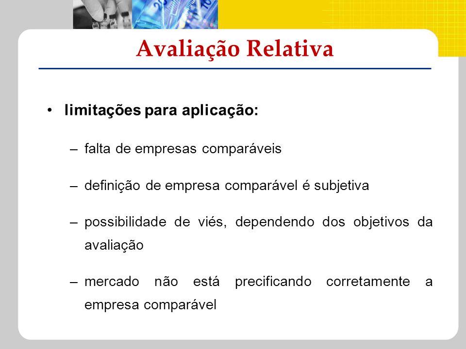 limitações para aplicação: –falta de empresas comparáveis –definição de empresa comparável é subjetiva –possibilidade de viés, dependendo dos objetivo