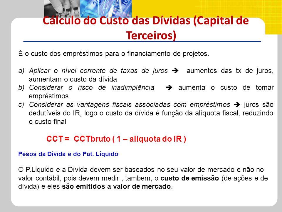 Cálculo do Custo das Dívidas (Capital de Terceiros) É o custo dos empréstimos para o financiamento de projetos. a)Aplicar o nível corrente de taxas de