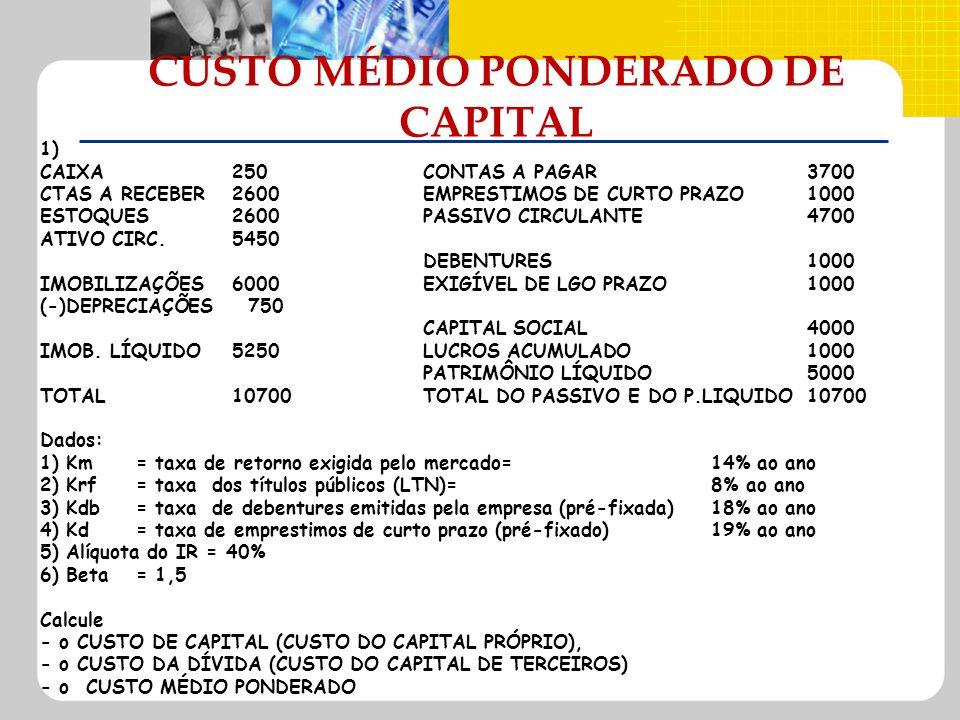 CUSTO MÉDIO PONDERADO DE CAPITAL 1) CAIXA250CONTAS A PAGAR3700 CTAS A RECEBER2600EMPRESTIMOS DE CURTO PRAZO1000 ESTOQUES2600PASSIVO CIRCULANTE4700 ATI