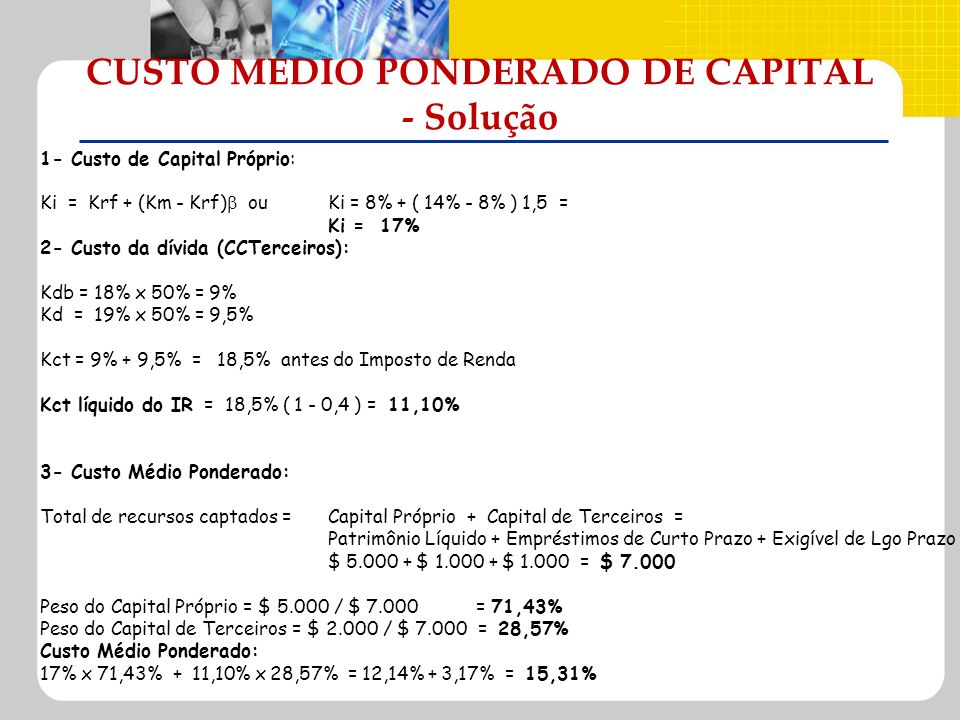 CUSTO MÉDIO PONDERADO DE CAPITAL - Solução 1- Custo de Capital Próprio: Ki = Krf + (Km - Krf) ouKi = 8% + ( 14% - 8% ) 1,5 = Ki = 17% 2- Custo da dívi