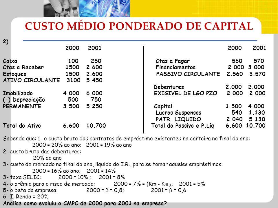 CUSTO MÉDIO PONDERADO DE CAPITAL 2) 2000 2001 2000 2001 Caixa 100 250 Ctas a Pagar 560 570 Ctas a Receber 15002.600 Financiamentos 2.000 3.000 Estoque
