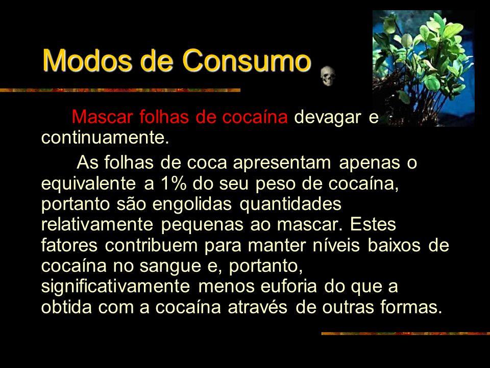 COCAÍNA É uma das drogas ilegais mais consumidas no mundo. A cocaína é um psicotrópico, pois age no Sistema Nervoso Central, isto é, sua atuação é no
