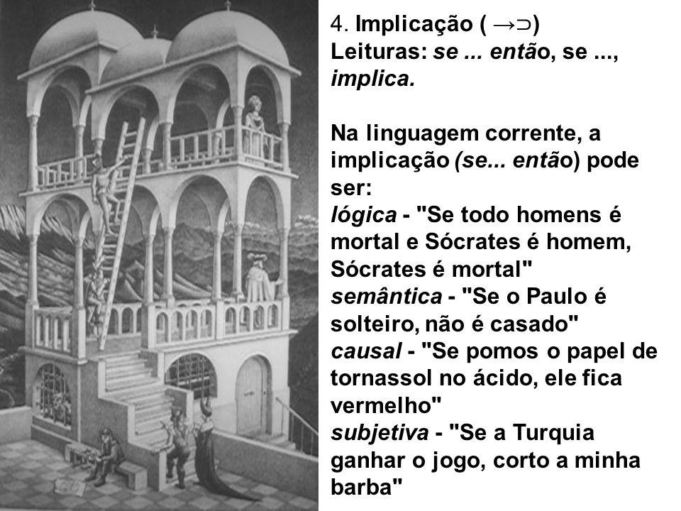 4. Implicação ( ) Leituras: se... então, se..., implica. Na linguagem corrente, a implicação (se... então) pode ser: lógica -