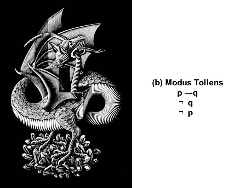 (b) Modus Tollens p q q p