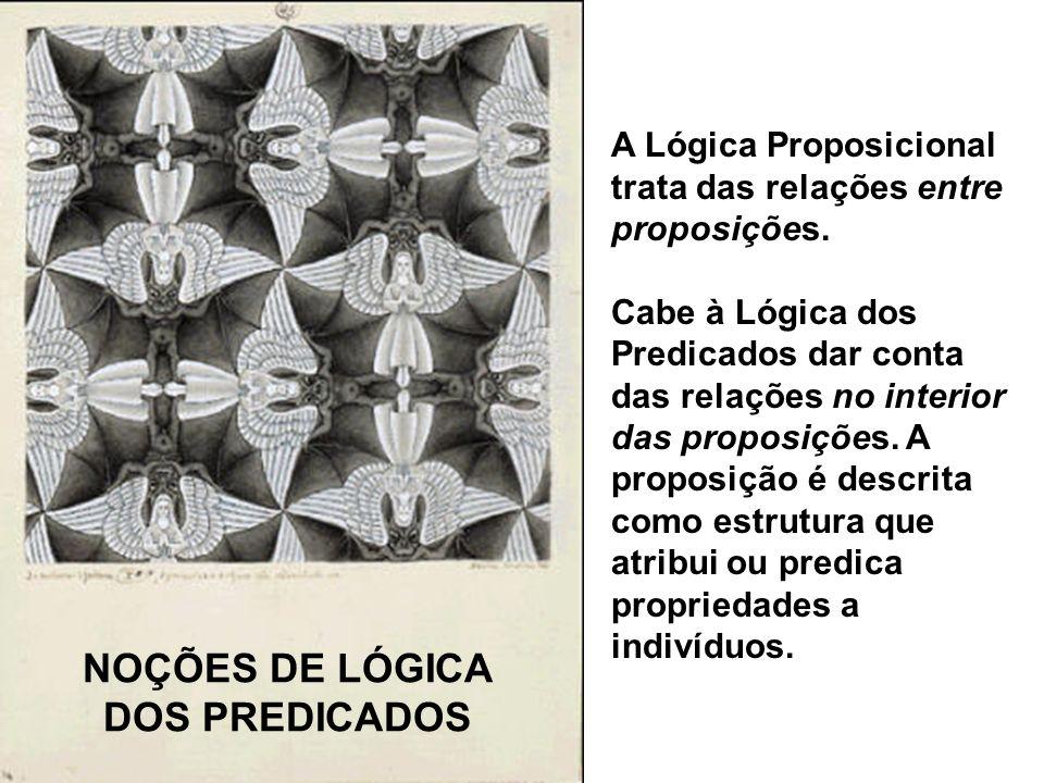 A Lógica Proposicional trata das relações entre proposições. Cabe à Lógica dos Predicados dar conta das relações no interior das proposições. A propos