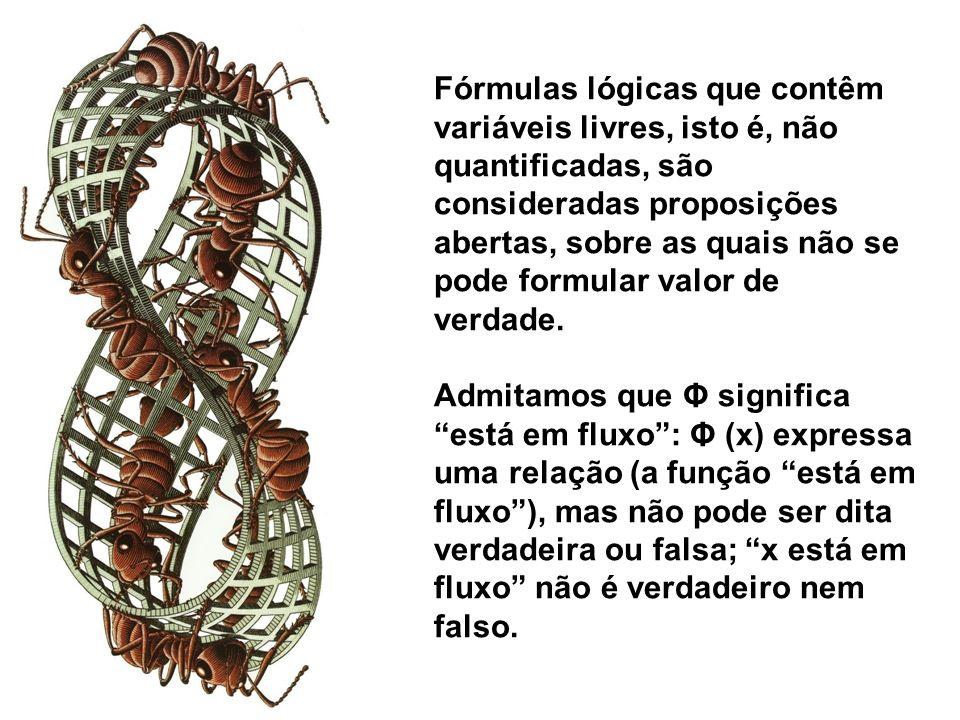 Fórmulas lógicas que contêm variáveis livres, isto é, não quantificadas, são consideradas proposições abertas, sobre as quais não se pode formular val