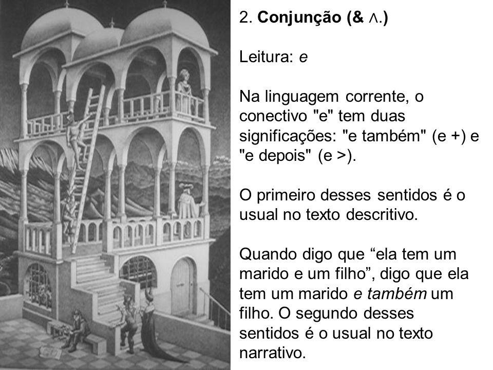 2. Conjunção (&.) Leitura: e Na linguagem corrente, o conectivo
