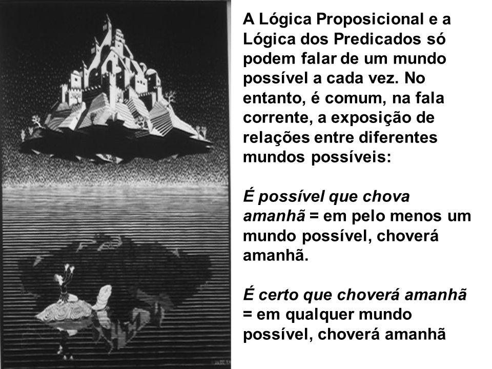 A Lógica Proposicional e a Lógica dos Predicados só podem falar de um mundo possível a cada vez. No entanto, é comum, na fala corrente, a exposição de