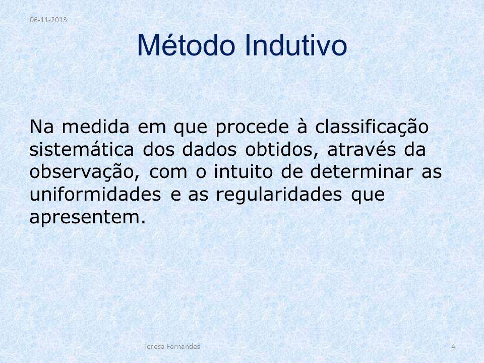 Método Indutivo Na medida em que procede à classificação sistemática dos dados obtidos, através da observação, com o intuito de determinar as uniformi