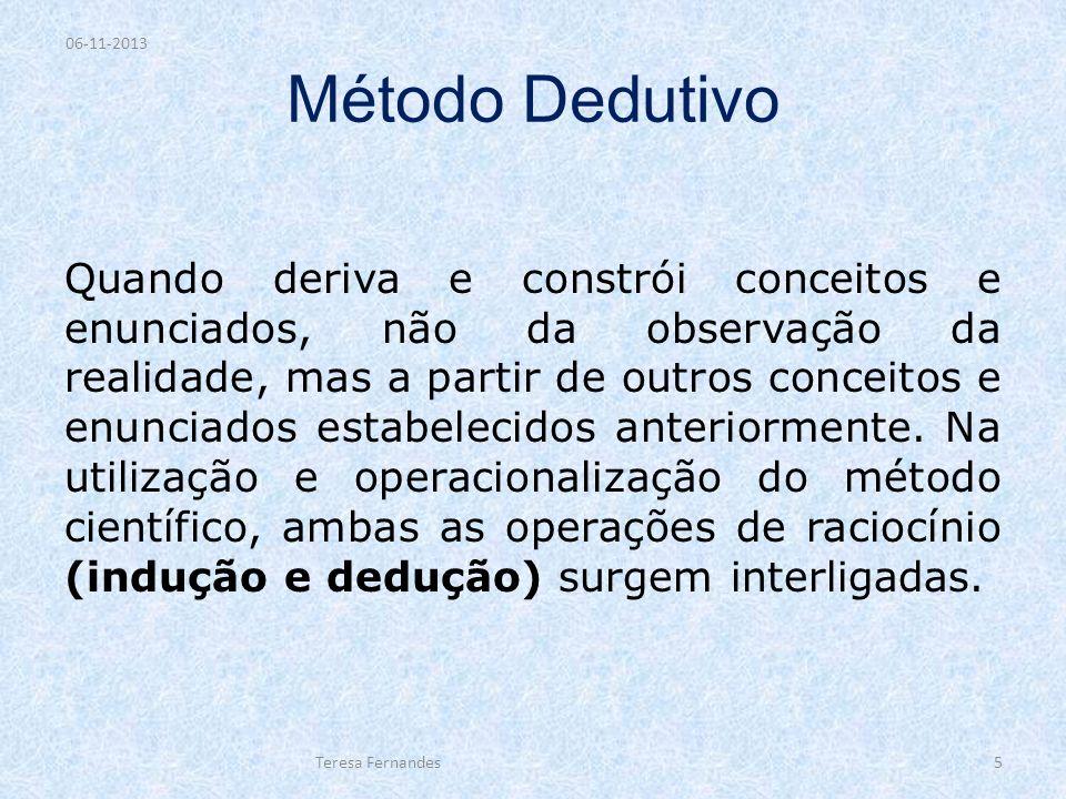 Método Dedutivo Quando deriva e constrói conceitos e enunciados, não da observação da realidade, mas a partir de outros conceitos e enunciados estabel