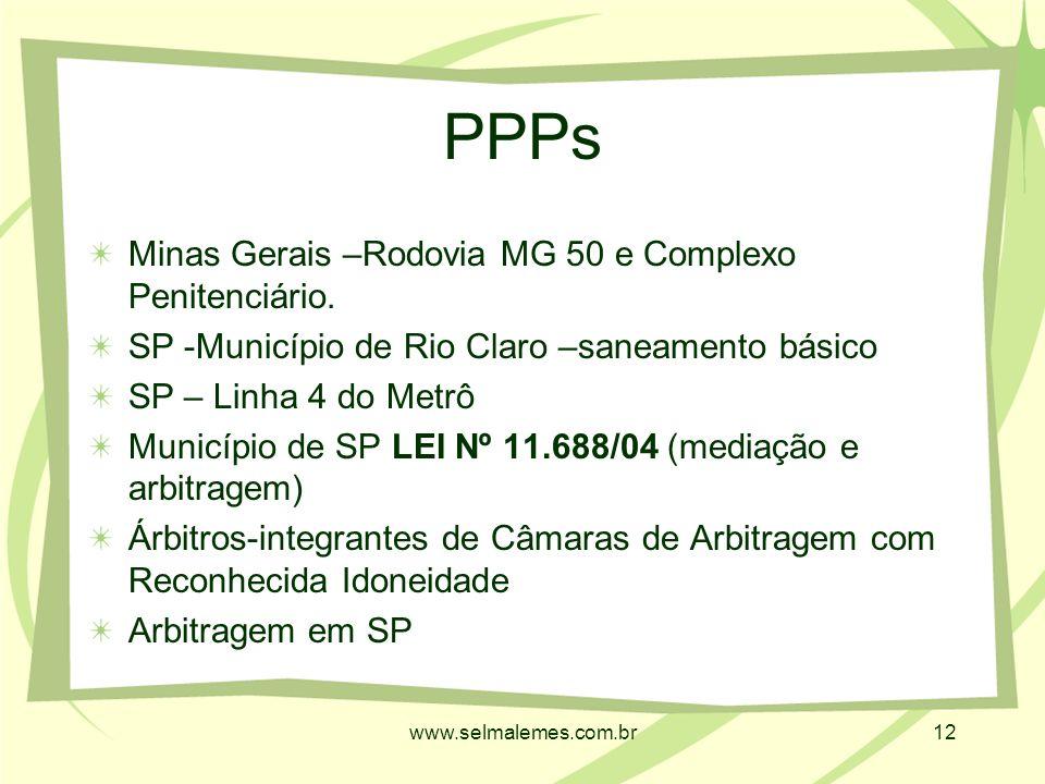 www.selmalemes.com.br12 PPPs Minas Gerais –Rodovia MG 50 e Complexo Penitenciário.