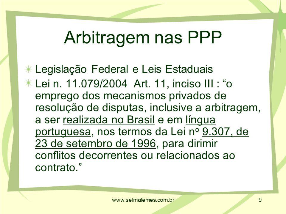www.selmalemes.com.br9 Arbitragem nas PPP Legislação Federal e Leis Estaduais Lei n.