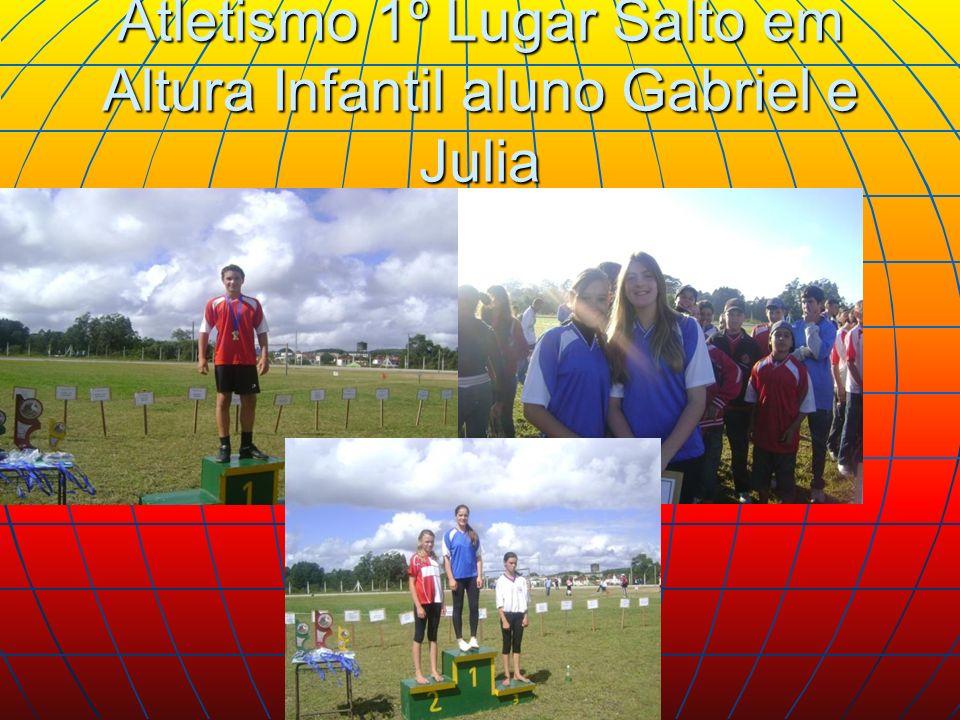 Atletismo 1º Lugar Salto em Altura Infantil aluno Gabriel e Julia