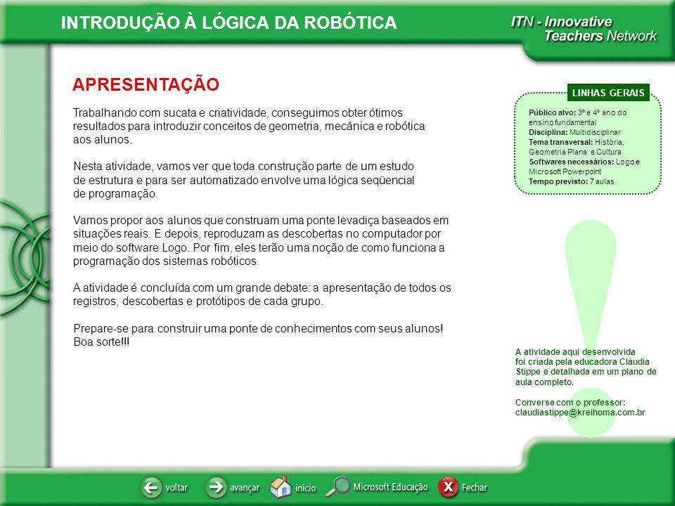 INTRODUÇÃO À LÓGICA DA ROBÓTICA ÍNDICE .