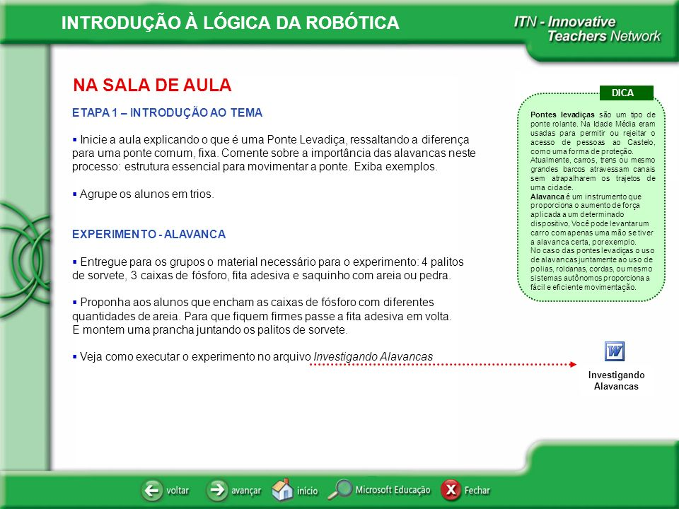 INTRODUÇÃO À LÓGICA DA ROBÓTICA .