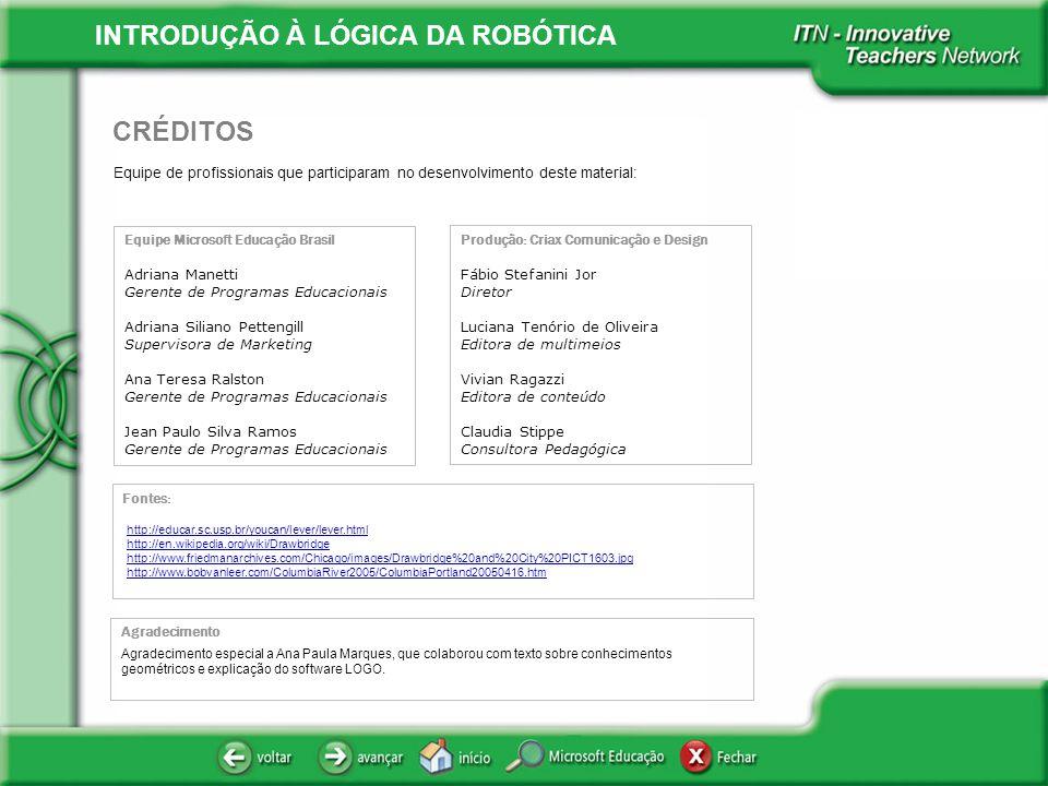 INTRODUÇÃO À LÓGICA DA ROBÓTICA Equipe de profissionais que participaram no desenvolvimento deste material: CRÉDITOS Equipe Microsoft Educação Brasil