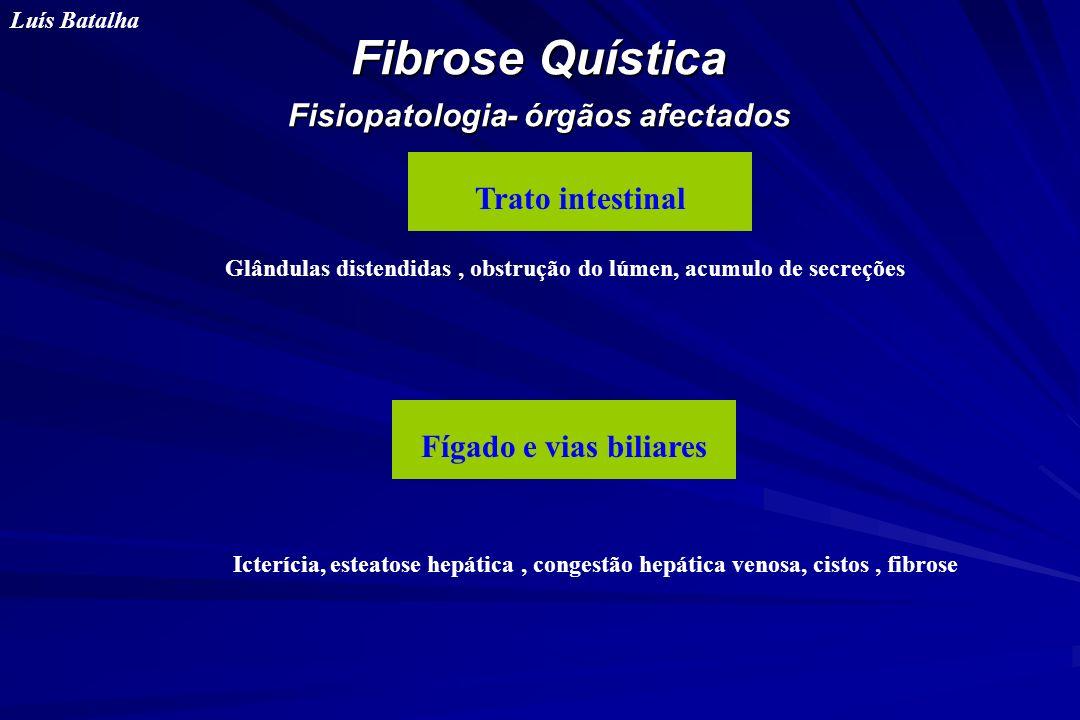 Fibrose Quística Fisiopatologia- órgãos afectados Luís Batalha Trato intestinal Fígado e vias biliares Glândulas distendidas, obstrução do lúmen, acum