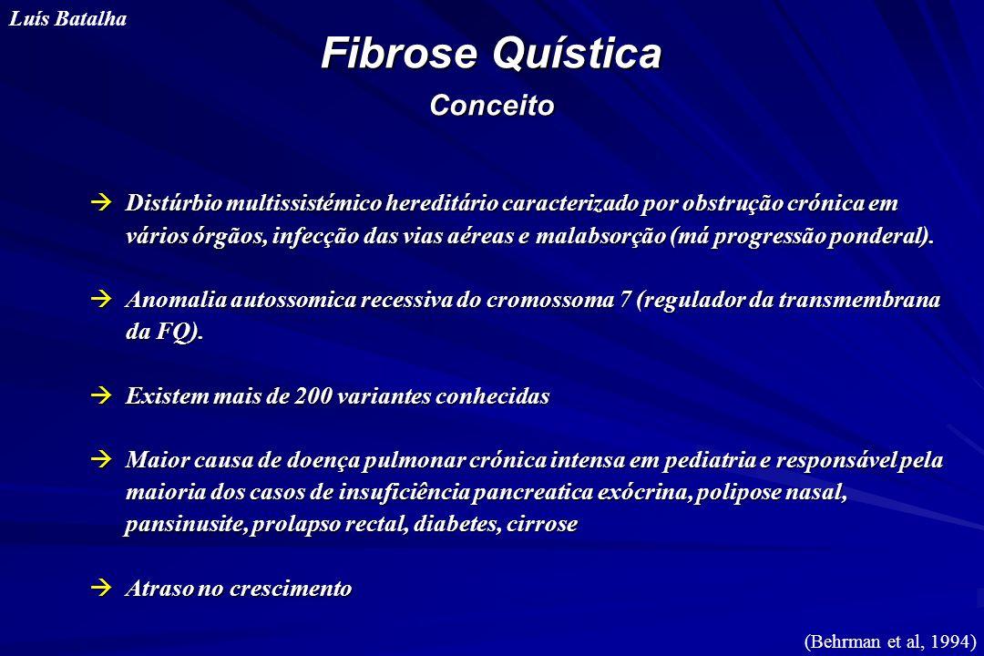 Fibrose Quística Conceito Luís Batalha àDistúrbio multissistémico hereditário caracterizado por obstrução crónica em vários órgãos, infecção das vias