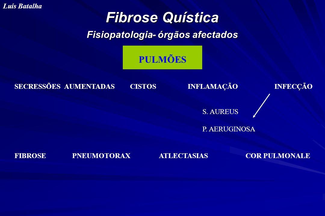 Fibrose Quística Fisiopatologia- órgãos afectados Luís Batalha PULMÕES SECRESSÕES AUMENTADAS CISTOSINFLAMAÇÃOINFECÇÃO FIBROSEPNEUMOTORAX ATLECTASIASCO
