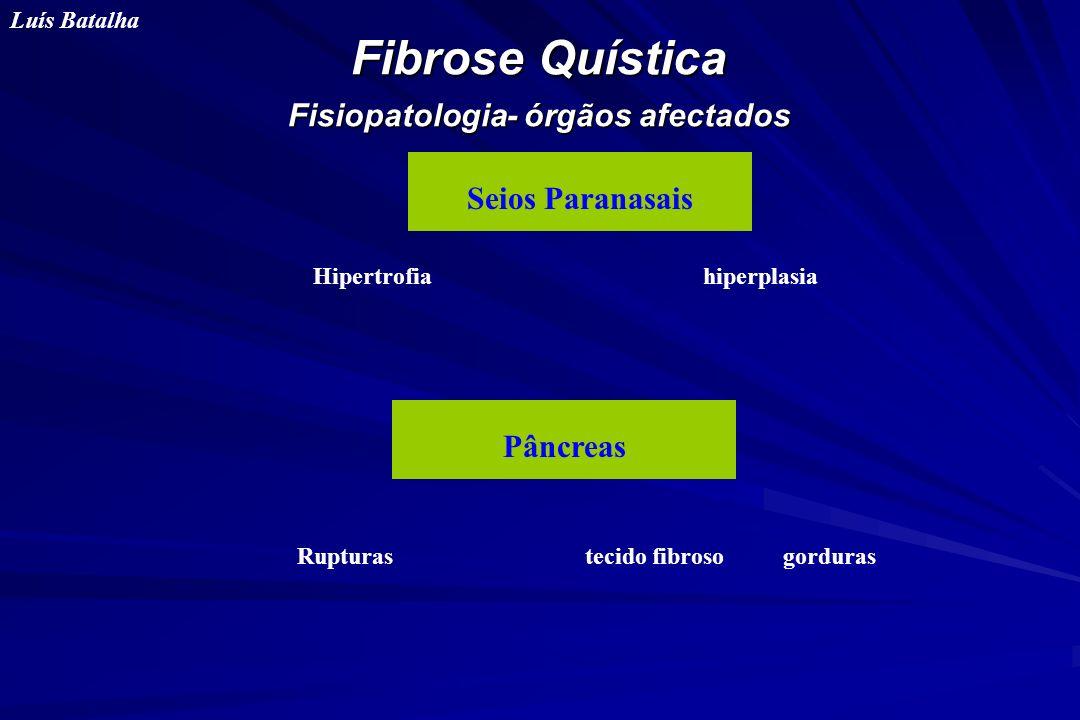 Fibrose Quística Fisiopatologia- órgãos afectados Luís Batalha Seios Paranasais Pâncreas Hipertrofia hiperplasia Rupturas tecido fibroso gorduras
