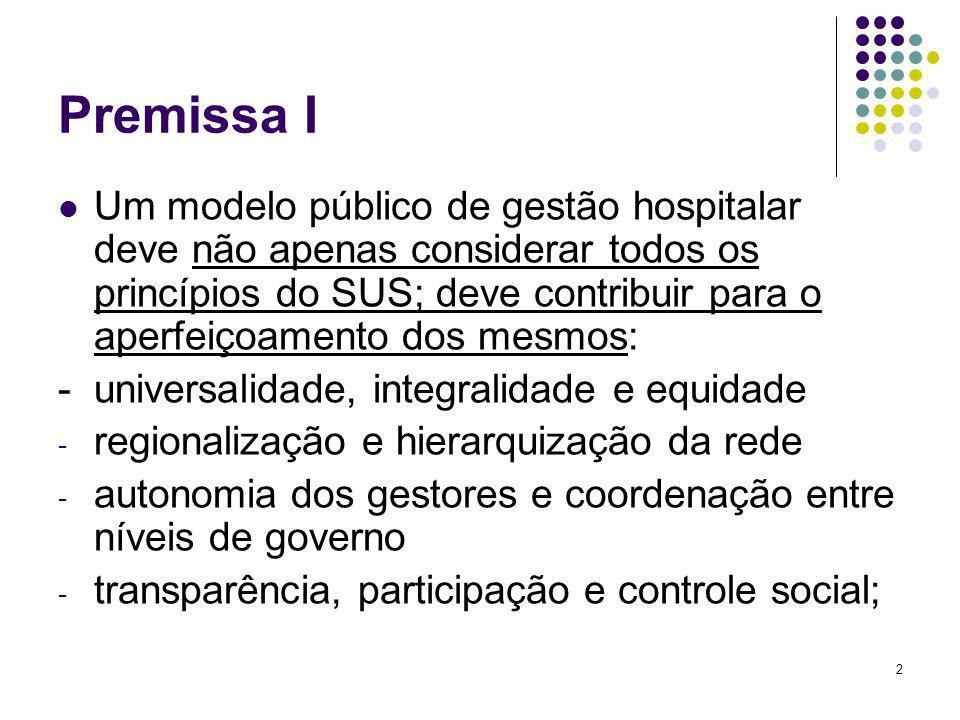 3 Premissa II No âmbito do SUS uma proposta vencedora no campo da gestão hospitalar deve favorecer os arranjos sistêmicos, em particular o papel reitor dos gestores (Estado), a complementariedade e continuidade do cuidado na rede de serviços;