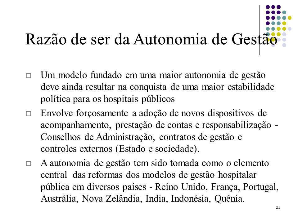 23 Um modelo fundado em uma maior autonomia de gestão deve ainda resultar na conquista de uma maior estabilidade política para os hospitais públicos E