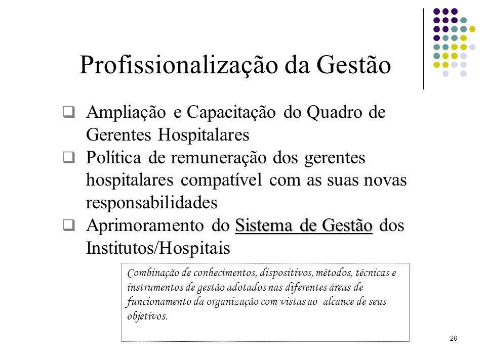 26 Profissionalização da Gestão Ampliação e Capacitação do Quadro de Gerentes Hospitalares Política de remuneração dos gerentes hospitalares compatíve