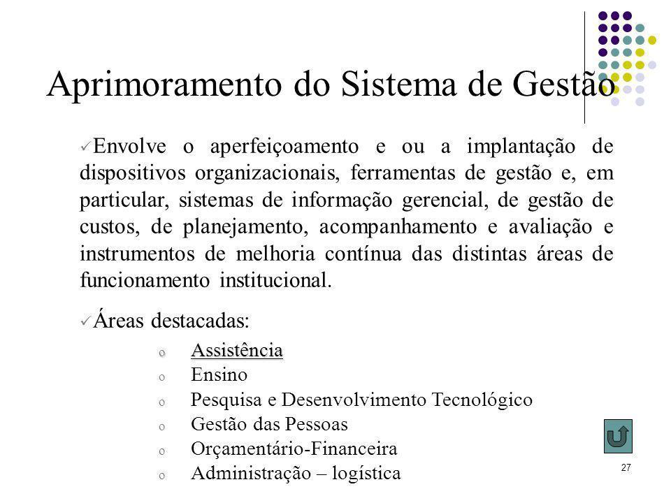 27 Aprimoramento do Sistema de Gestão o Assistência o Ensino o Pesquisa e Desenvolvimento Tecnológico o Gestão das Pessoas o Orçamentário-Financeira o