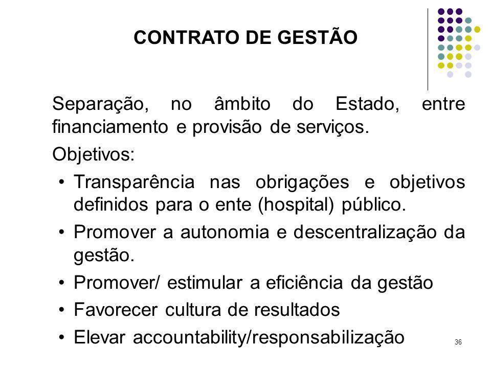 36 Separação, no âmbito do Estado, entre financiamento e provisão de serviços. Objetivos: Transparência nas obrigações e objetivos definidos para o en