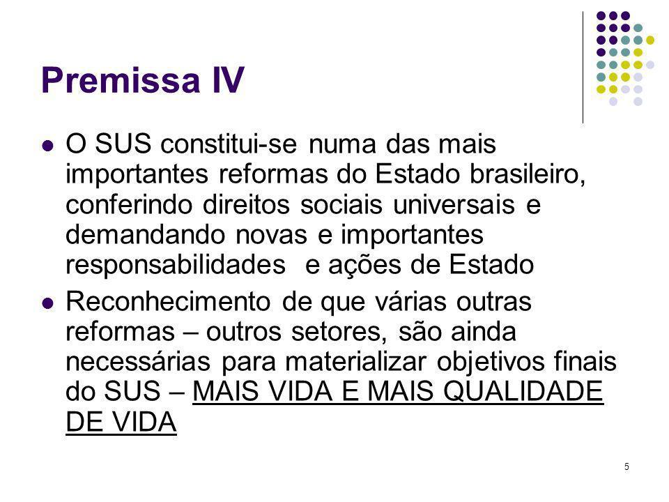 5 Premissa IV O SUS constitui-se numa das mais importantes reformas do Estado brasileiro, conferindo direitos sociais universais e demandando novas e