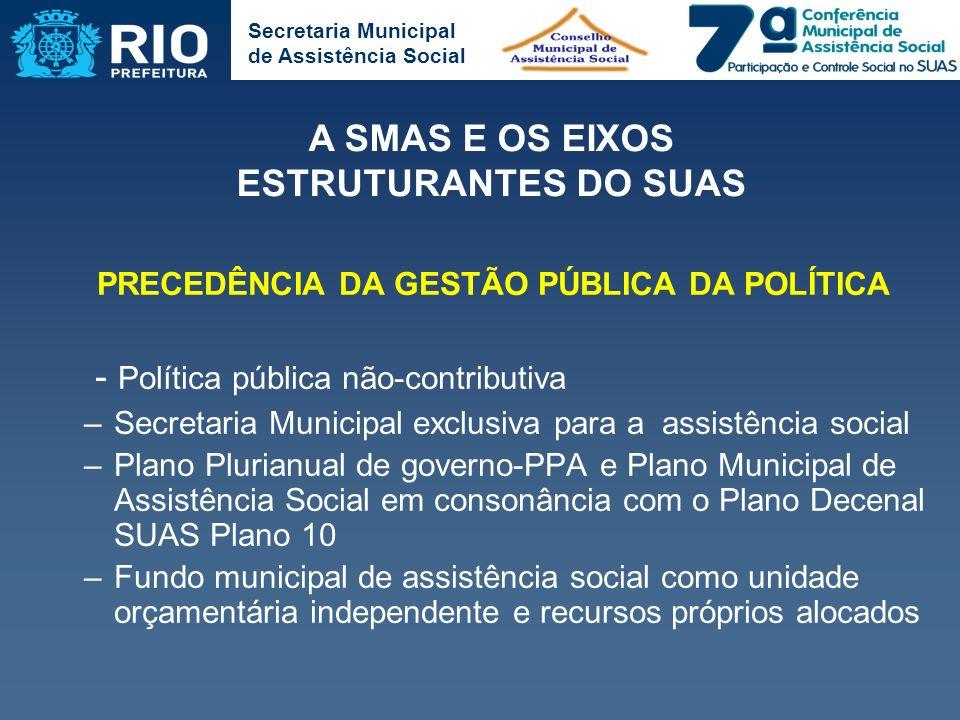 Secretaria Municipal de Assistência Social PRECEDÊNCIA DA GESTÃO PÚBLICA DA POLÍTICA - Política pública não-contributiva –Secretaria Municipal exclusi