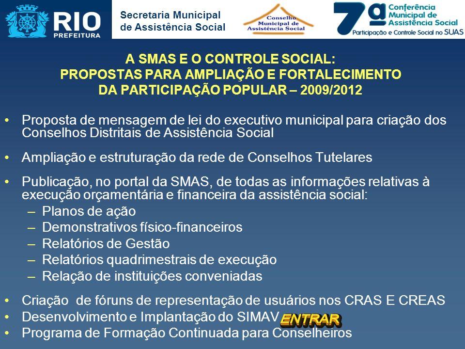 Secretaria Municipal de Assistência Social A SMAS E O CONTROLE SOCIAL: PROPOSTAS PARA AMPLIAÇÃO E FORTALECIMENTO DA PARTICIPAÇÃO POPULAR – 2009/2012 P