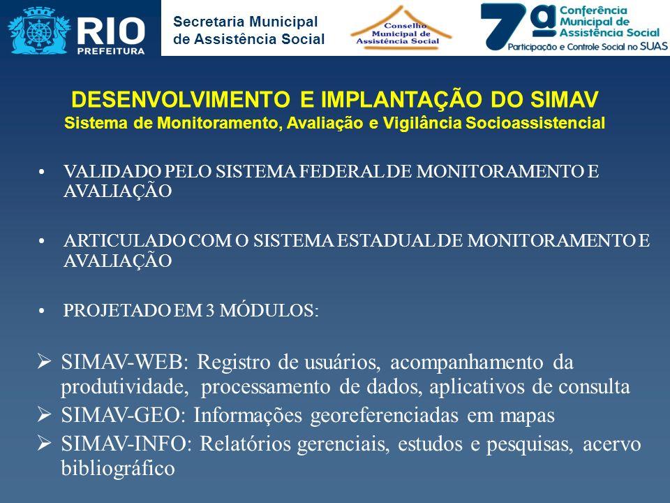 Secretaria Municipal de Assistência Social VALIDADO PELO SISTEMA FEDERAL DE MONITORAMENTO E AVALIAÇÃO ARTICULADO COM O SISTEMA ESTADUAL DE MONITORAMEN