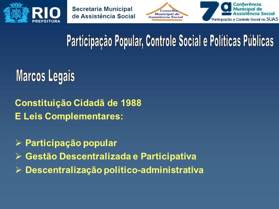 Secretaria Municipal de Assistência Social Constituição Cidadã de 1988 E Leis Complementares: Participação popular Gestão Descentralizada e Participat