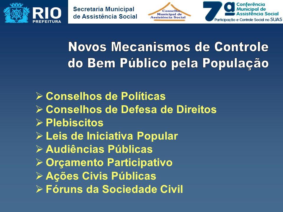Secretaria Municipal de Assistência Social Conselhos de Políticas Conselhos de Defesa de Direitos Plebiscitos Leis de Iniciativa Popular Audiências Pú
