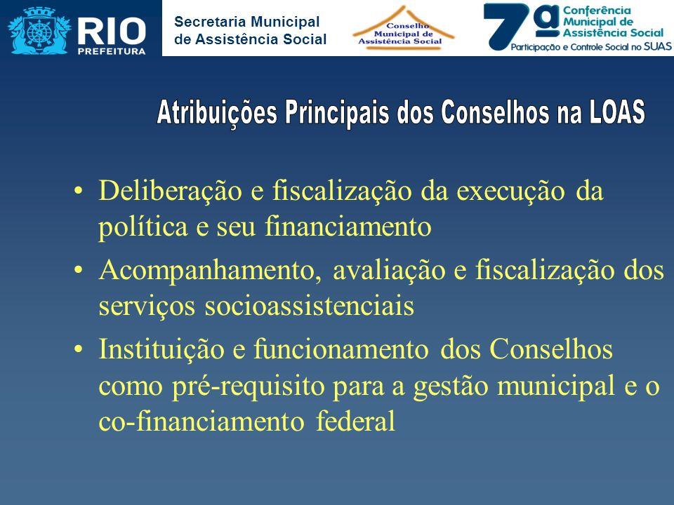 Secretaria Municipal de Assistência Social Deliberação e fiscalização da execução da política e seu financiamento Acompanhamento, avaliação e fiscaliz