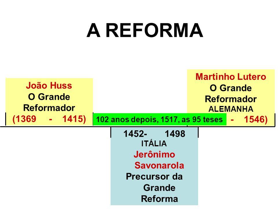 1452- 1498 ITÁLIA Jerônimo Savonarola Precursor da Grande Reforma Martinho Lutero O Grande Reformador ALEMANHA (1483 - 1546) João Huss O Grande Reform