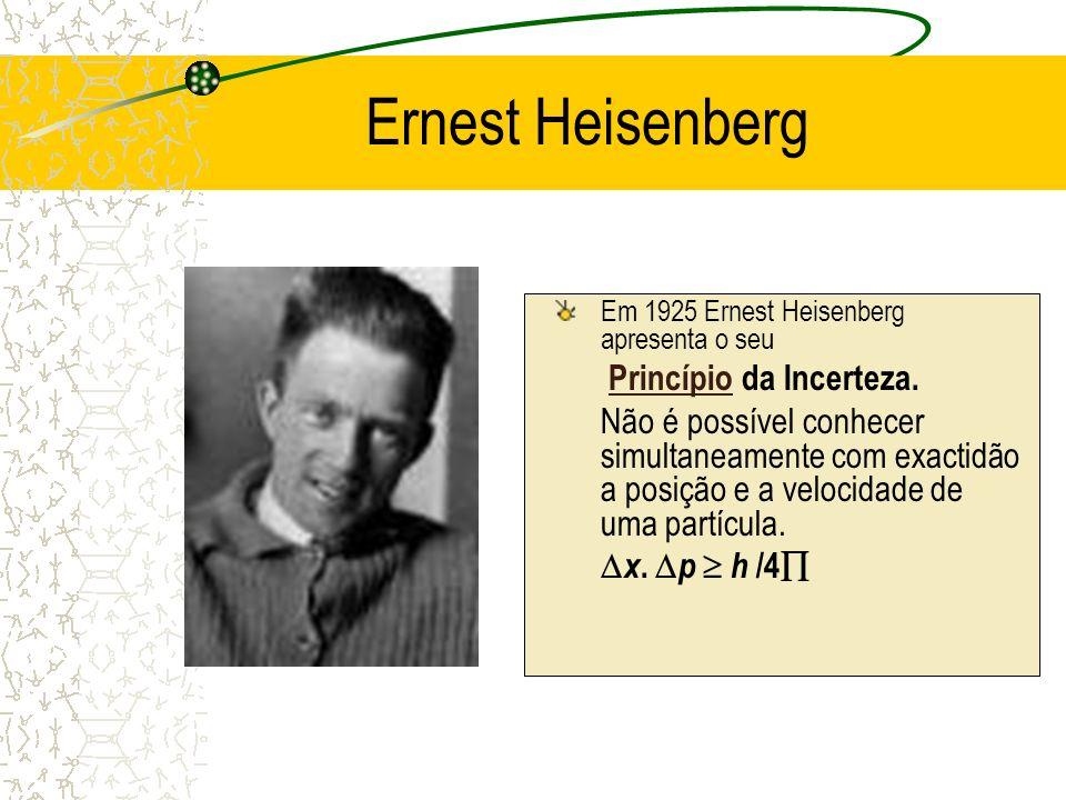 Ernest Heisenberg Em 1925 Ernest Heisenberg apresenta o seu Princípio da Incerteza. Princípio Não é possível conhecer simultaneamente com exactidão a