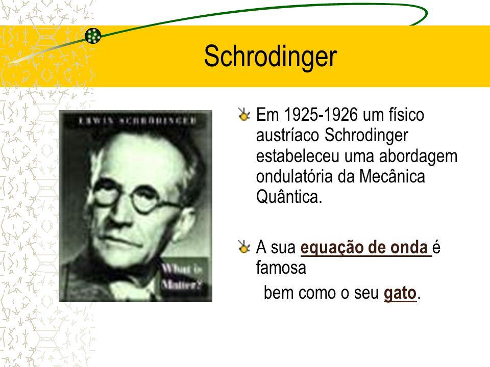 Schrodinger Em 1925-1926 um físico austríaco Schrodinger estabeleceu uma abordagem ondulatória da Mecânica Quântica. A sua equação de onda é famosa eq