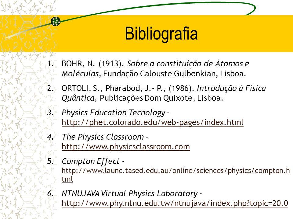 Bibliografia 1.BOHR, N. (1913). Sobre a constituição de Átomos e Moléculas, Fundação Calouste Gulbenkian, Lisboa. 2.ORTOLI, S., Pharabod, J.- P., (198
